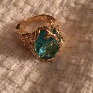Large Teal Crystal Stone ring